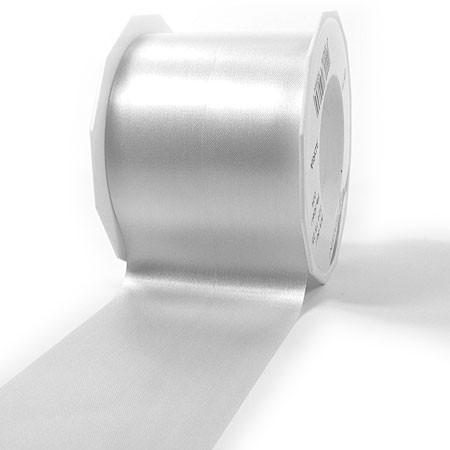 Satinband - ADRIA, Tischband: 72mm breit / 25m-Rolle, weiss.
