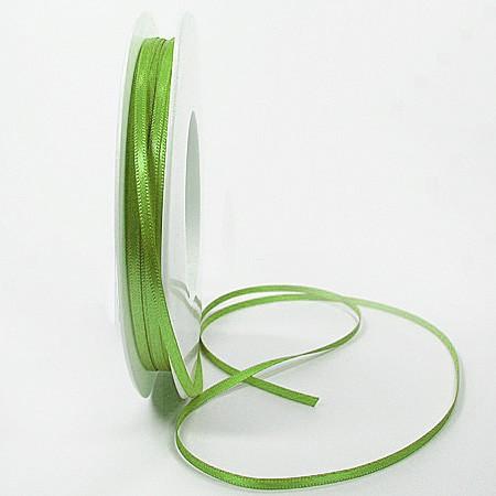 Satinband-SINFINITY, lindgrün: 3mm breit / 50m-Rolle, mit feiner Webkante