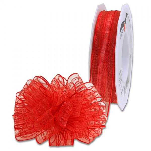 Ziehschleifenband VENEDIG: 25mm breit / 25m-Rolle, rot