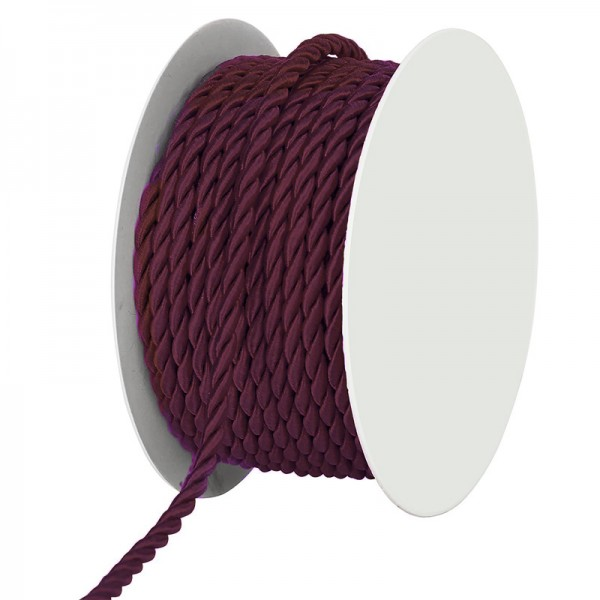 Kordel, bordeaux gedreht: 4mm breit Ø / 25m-Rolle