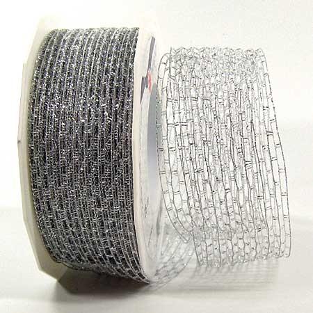 Weihnachtsband - Nigara-Drahtgitterband: 40mm breit / 25m-Rolle, silber