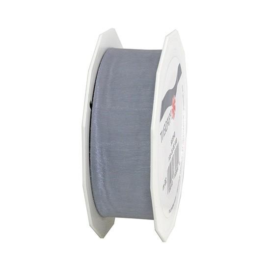 Organzaband-Sheer: 25mm breit / 25m-Rolle, silber.