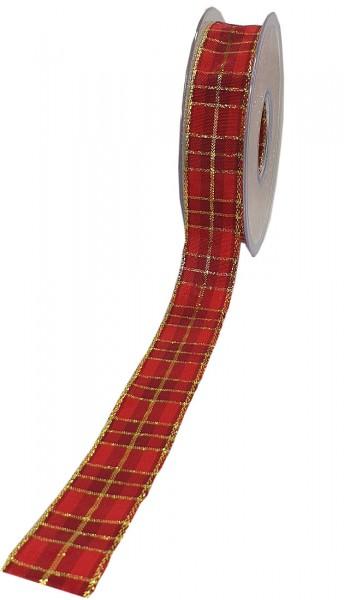 Weihnachtsband - KARO: 25mm breit / 20m-Rolle, mit Draht- und Lurex-Goldkante.