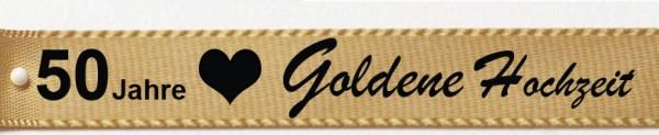 """Satinband """"Goldene Hochzeit"""", gold: 15mm breit / 25m-Rolle"""