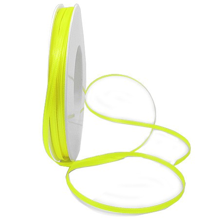 Satinband SINFINITY, neongelb: 3mm breit / 50m-Rolle, mit feiner Webkante.