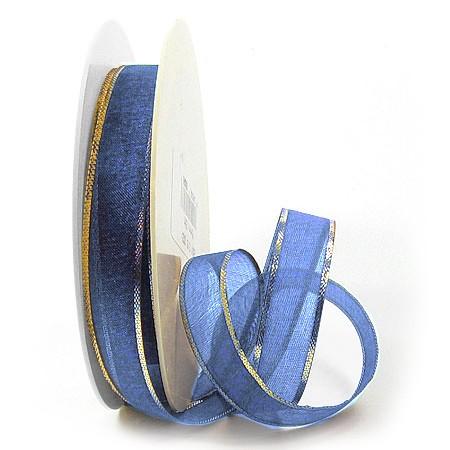 Organzaband-Magic: Royalblau-Gold, 15mm breit / 25m-Rolle.