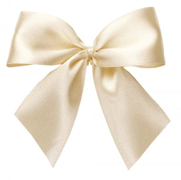 Fertigschleifen aus doppelseitigem Satinband, creme mit 2 Flügeln: 25 Stück in Klarsicht-Box. Maße: von Flügel zu Flügel: ca. 10 cm