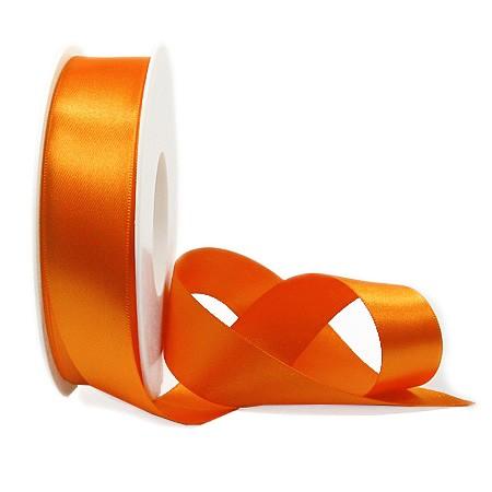 Satinband SINFINITY, orange: 25mm breit / 25m-Rolle, mit feiner Webkante.