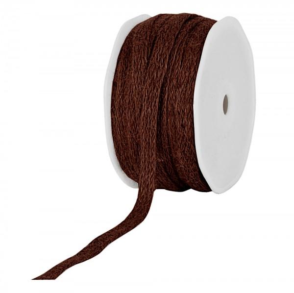 Jute-Flechtband, dunkelbraun: 12mm breit / 20m-Rolle