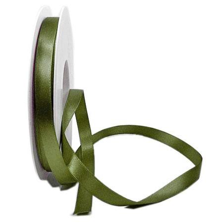Satinband SINFINITY, olivgrün: 10mm breit / 25m-Rolle, mit feiner Webkante.