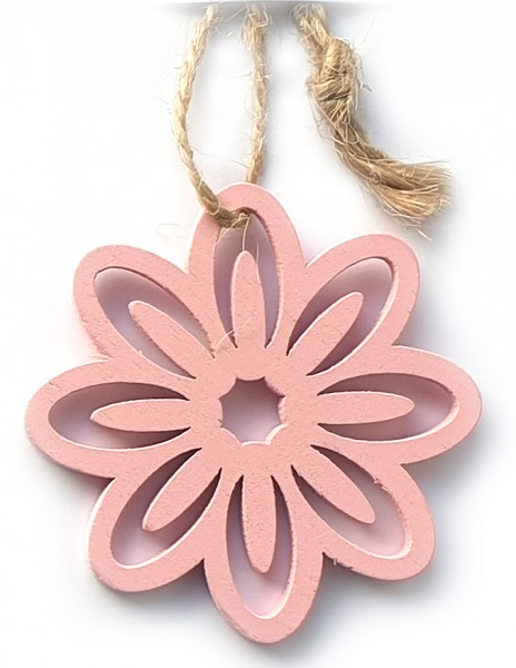 "Holz-Anhänger ""BLUME"", rosa: 5 cm x 5 cm zu 24 Stück im PE-Beutel"
