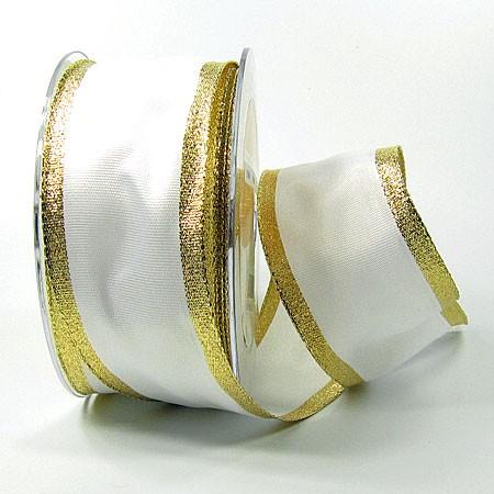 Dekorband Classic, weiß-gold: 50mm breit / 25m, mit Drahtkante