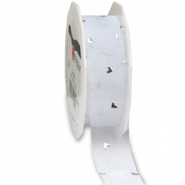 Hochzeitsband-CASANOVA, silber: 25mm breit / 20m-Rolle