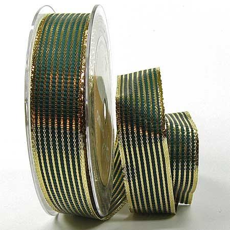 Geschenkband, LINES - grün-Gold: 25mm breit / 25m-Rolle, mit Drahtkante