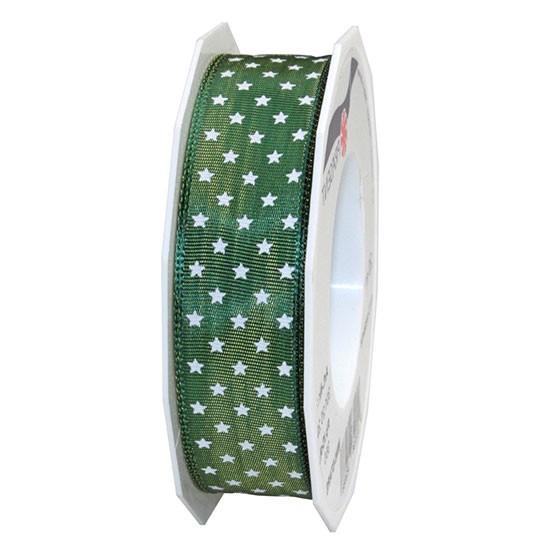 Weihnachtsband MINI-STARS: 25mm breit / 20m-Rolle, moosgrün