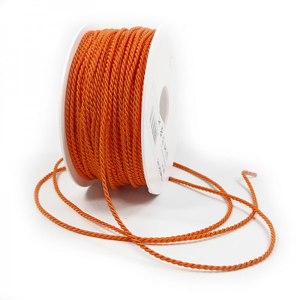 Kordel: 2mm breit / 50m-Rolle, orange.