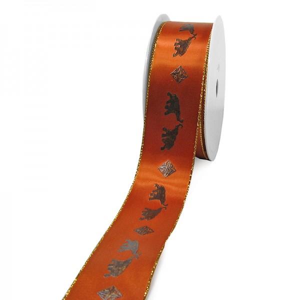 "Dekorationsband ""SAFARI"": 40mm breit / 25m-Rolle, mocca"