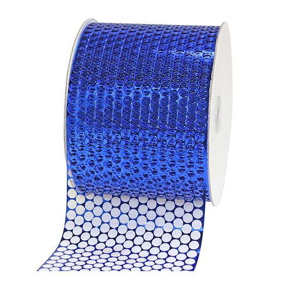 LOCHBAND-Chicago: 80mm breit / 45m-Rolle, royalblau-metallic