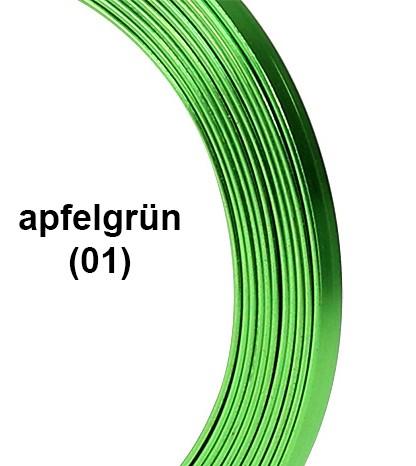 Aluminium-Flachdraht: ca. 5mm x 1mm - 10m-Ring: apfelgrün (01)