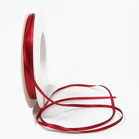 Satinband-SINFINITY, rot: 3mm breit / 50m-Rolle, mit feiner Webkante