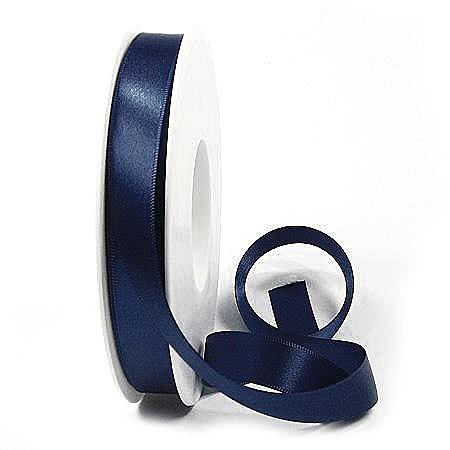 Satinband SINFINITY, nachtblau: 15mm breit / 25m-Rolle, mit feiner Webkante.