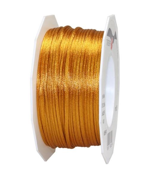 Satinkordel-RHEIN, altgold: 3 mm breit - 50-Meter-Rolle