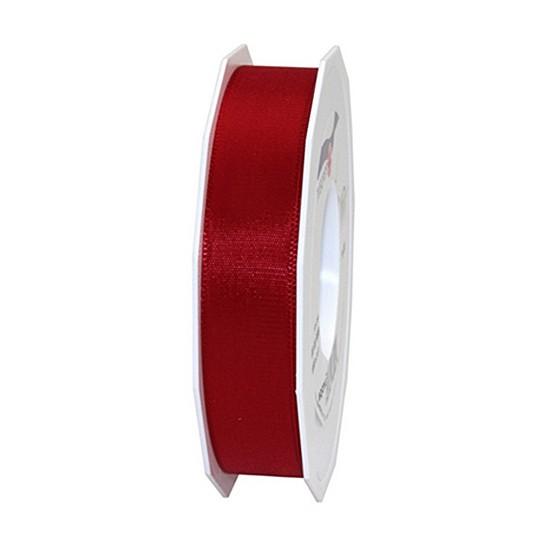 Taftband, bordeaux: 25mm breit / 50m-Rolle, mit feiner Webkante.