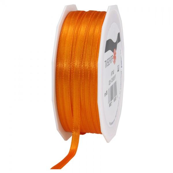 Satinband-PRÄSENT, orange: 6mm breit / 50m-Rolle, mit feiner Webkante.