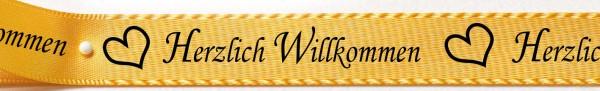 Satinband-HERZLICH WILLKOMMEN bunt: 15mm breit / 25m-Rolle, gelb