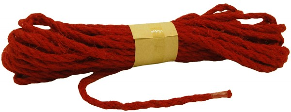 JUTE-Kordel, rot: 5mm breit - 10m