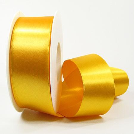 Satinband-SINFINITY, gelb: 38 mm breit / 25 Meter, mit feiner Webkante.