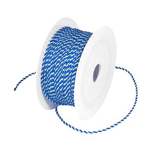 Kordeln gedreht: 2 mm breit / 50 Meter - blau-weiß
