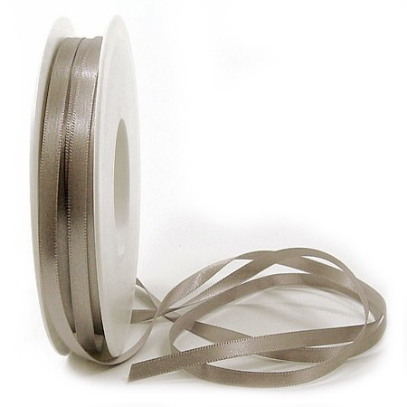 Satinband SINFINITY, taupe: 6mm breit / 50m-Rolle, mit feiner Webkante.