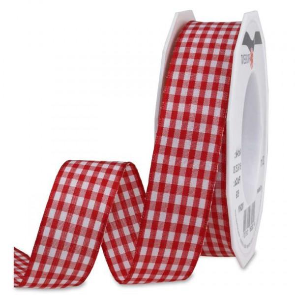 Vichy-Karoband, rot-weiß: 25mm breit / 20m-Rolle