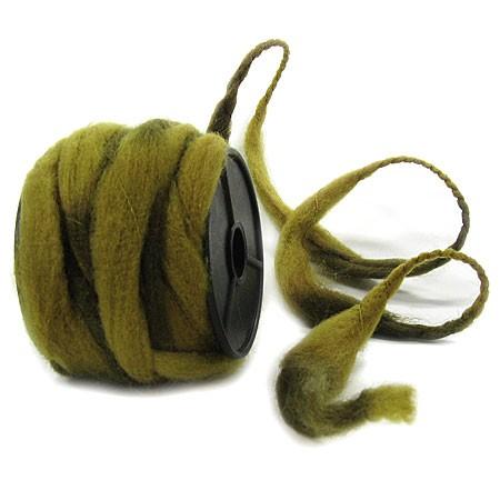 Filzkordel: olivgrün-moosgrün - 12mm Ø breit / 10m-Rolle