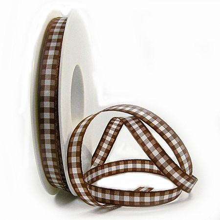 Karoband, braun-weiss: 10mm breit / 25m-Rolle