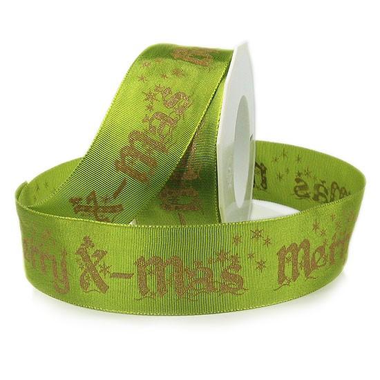"Weihnachtsband ""Merry X-mas"": 40mm breit / 20m-Rolle, lindgrün-gold"