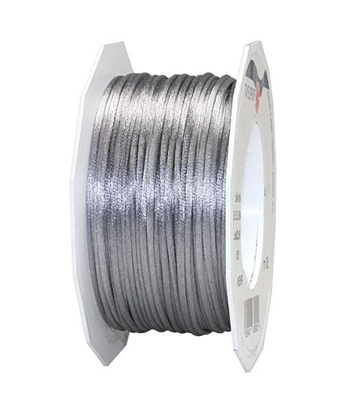 Satinkordel-RHEIN, silber-grau: 3 mm breit - 50-Meter-Rolle