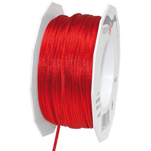 Satinkordel, rot: 3 mm breit - 50-Meter-Rolle