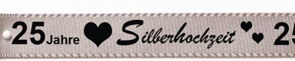 """Satinband """"Silberhochzeit"""", silbergrau: 15mm breit / 25m-Rolle"""