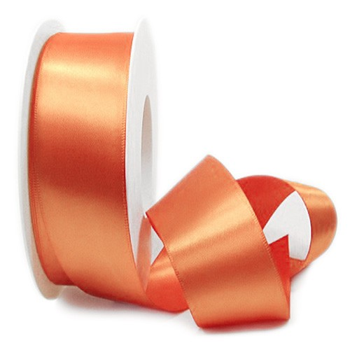 Satinband SINFINITY, apricot: 38mm breit / 25m-Rolle, mit feiner Webkante.
