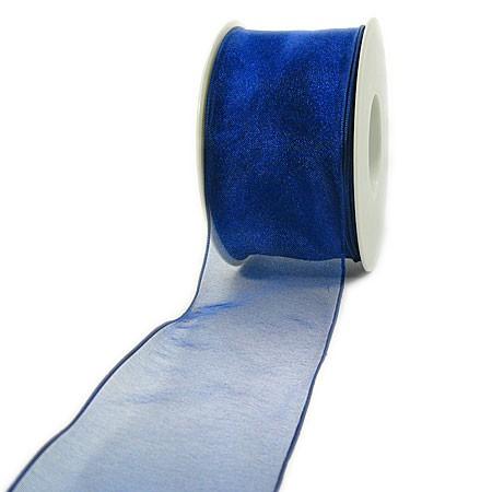 Organzaband mit Webkante: 60mm breit / 25m-Rolle, royalblau: 1250060128