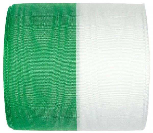 Vereinsband Schützenband, grün-weiß, 100mm breit / 25m-Rolle, mit Moiré-Struktur.