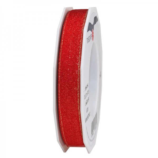 GLITTER-Satinband: 15mm breit / 20m-Rolle, rot mit Gold-Glitzer