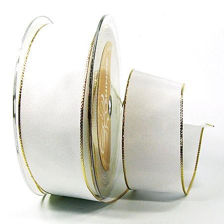Dekoband Basic: 38mm breit / 25m, weiss-gold