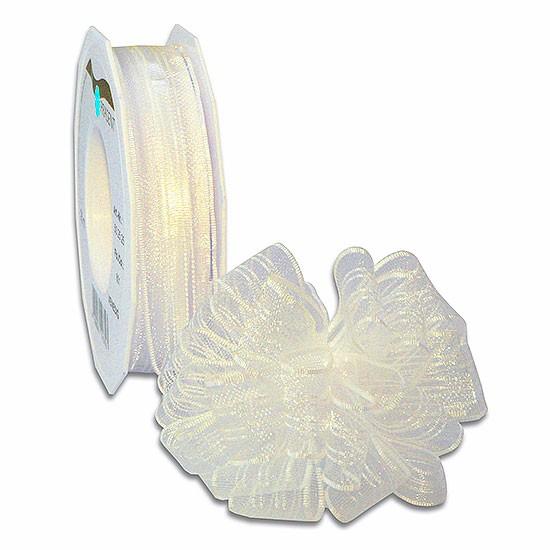 Ziehschleifenband VENEDIG: 25mm breit / 25m-Rolle, creme