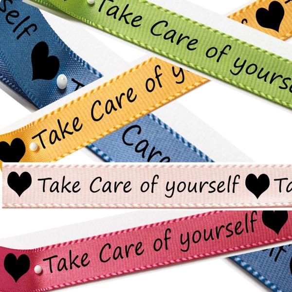 Satinband- Set Take Care: 15mm breit / 5 x 3m in blau, gelb, grün, pink und hellrosa