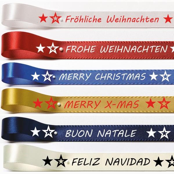 Weihnachtssatinband: 15mm breit / 25m-Rolle verschieden Farbkombinationen, verschieden Aufschriften rund um das Thema Weihnachten