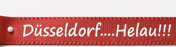 Karnevals-Satinband DüsseldorfHelau: 15mm breit / 25m-Rolle: rot mit weißer Schrift