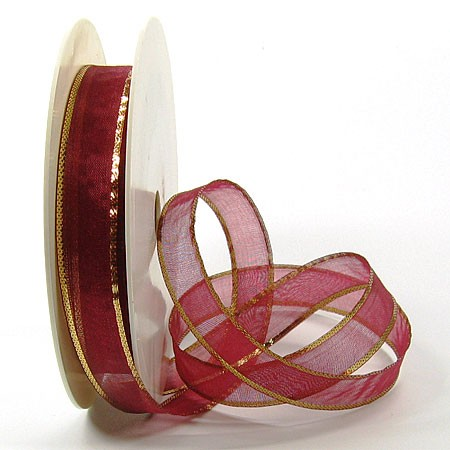 Organzaband-Magic: Rot-Gold, 25m-Rolle - 15mm breit